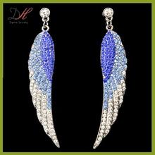 Daihe DH-ER1045 Crystal Micro Pave Silver Angel Wings Dangle Earrings
