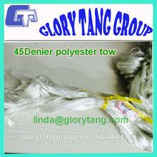 pet bottles 45Denier white polyester tow for flocking use