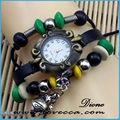 p 2014 moda venta caliente pulsera de cuero vintage reloj con pulseras de cuero oem
