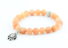 Hot selling natural beads yellow jade beads with turtle charm bracelet