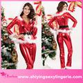 Moda venta al por mayor Punky de Santa sudadera con capucha Top y pantalones de Santa elf traje