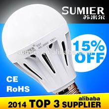 2012 hot selling led bulb 7w 180 degree plastic+aluminum material