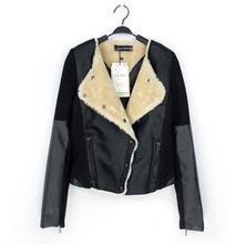 Z71318A 2014 European style fashion short leather ladies coats