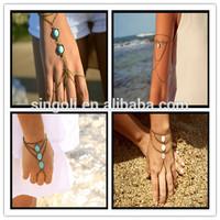 Boho Turquoise Beads Slave Bracelet Hand Bracelet Piece Ring Hipster Bronze Chain Bohemian Boho Turquoise Beads Hand Jewelry