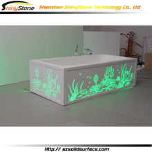 CNC carving ligting design hand working solid surface free standing white resin bathub