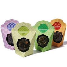 Printed paper tea box for packaging with PVC window