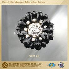 2014 top fashion golden rose center rhinestone shoe ornaments