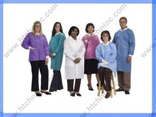 blue and white lab coats from non woven materials, one time use lab coats