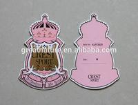 Fashion design cardboard label printing, garment tags