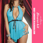 Wholesale new style high quality blue silk babydoll lingerie