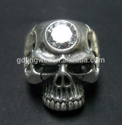 Silver jewelry fashion big round CZ skull ring