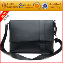 Newest fashion pu/cow leather college student shoulder bag men school bags for teenagers