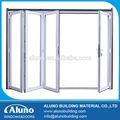 Powdercoated acabado aluminio puerta plegable de vidrio