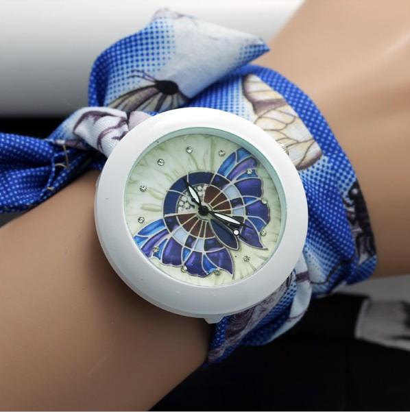 ดอกไม้สาวหวานชีฟองผ้านาฬิกาผู้หญิงชุดนาฬิกาแฟชั่นผู้หญิงนาฬิกาข้อมือดอกไม้ผ้าdw0104#2014