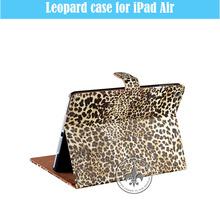 New Design Portable Folding Smart Stand Leopard PC PU Leather Protective Case For iPad5 U1701-132