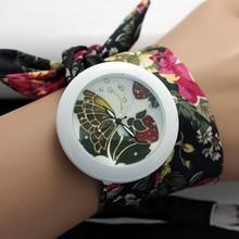 Paypal Floral Sweet Girls Chiffon Watch Fabric Women Dress Watches Fashion Ladies Flower Cloth Wrist Watch 2014 4# DW010