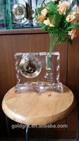 unique design crystal mechanical clock with Flower bouquet