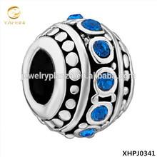 925 Silver Deep Blue Crystal Beads Charms For Bracelet DIY