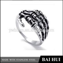 Mens Biker Tribe Gothic 316L Stainless Steel Skeleton Bone Hand Skull Ring