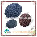 la mercancía barata para 3 pliegue de tela escocia paraguas chinos