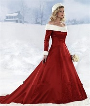 2014 snow winter off the shoulder long sleeve velvet white and red mermaid wedding dress patterns free RTT-0670
