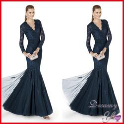 Gorgeous V-neck Full Length Beaded Applique Tulle Mermaid Long Sleeve Evening Gowns