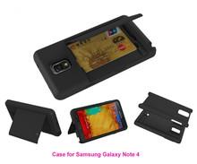 2 in 1 Unique Card Slot Hybrid Kickstand Silicon Case For Samsung Galaxy Note 4