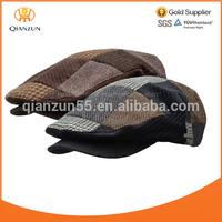 WOOL TWEED PATCHWORK IVY Men Cap Newsboy Hat Golf Driving Flat hat