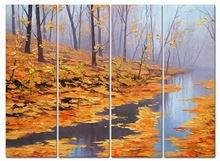 Autumn landscape oil paintings of leaves dropship