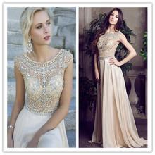 Sexy sheer cap sleeves rhinestones crystal beaded chiffon prom dresses