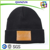 Custom Patch Beanie Hat Leather Patch Long Beanie Winter Hat/Knit Hat
