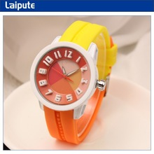2014 fashion colorful geneva watch japan movt water resistant