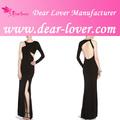 China fornecedor de cristal v- pescoço alto baixo imprimir vestido longo à noite