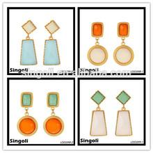 geometric design dangle earring best friend gift