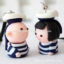 Wholesale new design custom ceramic cartoon characters Mobile phone key chains