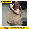 2460 Trend Design Khaki Color Washed Canvas Travel Tote Bag with Leather Handles For Women