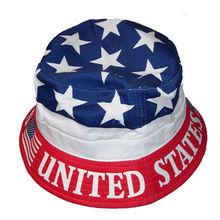 100% cotton custom american flag print pattern bucket hat