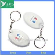 wholesale Cheap Personalized round pvc led light keychain keyring