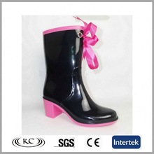 stylish usa black lace up pink ladies high heel boots