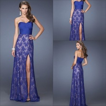 Sexy Blue Sheath/Column Sleeveless Lace Floor-Length Dresses Chiffon Evening Dresses