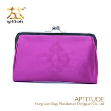 2014 Fashion Pink Satin Ladies Evening Unique Cosmetic Bag