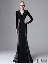 2015 Ladies Party Wear Gown Elegant Sexy Long Sleeve Velvet Arabic Dubai Kafatan Abaya Evening Dress Online Shopping