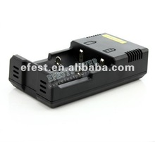 External battery charger nitecoer i2 charger dual bay battery charger fit to all li-ion battery