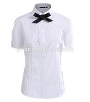 Garment wash new style mature ladies blouse front neck design