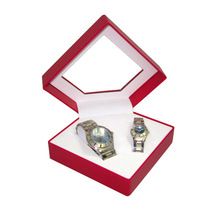 Fancy Valentine Couple Transparent Window Diamond Plastic Watch Box