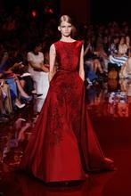 Elegant elie saab crystal beaded red satin evening dresses china