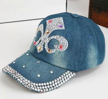 rhinestone worn-out baseball hat jean baseball cap