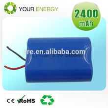 18500 1S2P 3.7V 2400mAh lithium battery pack