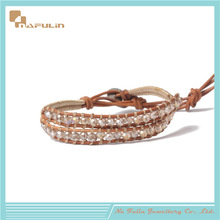 charm top sale champagne crystal beads, cotton fiber line woven bracelet