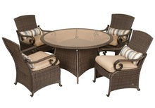 Classic deluxe 5pcs patio wicker dining set wick furniture